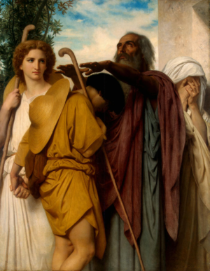 Tobias is a story in the apocryphal Book of Tobias about a blind man who was able to overcome his fear and regain his sight through the archangel Raphael. Painting by William-Adolphe Bouguereau (1860)