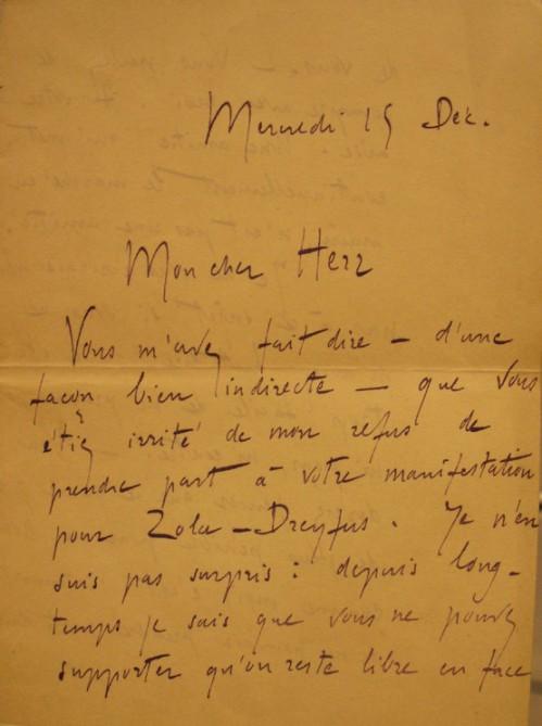 Handwritten letter by Rolland