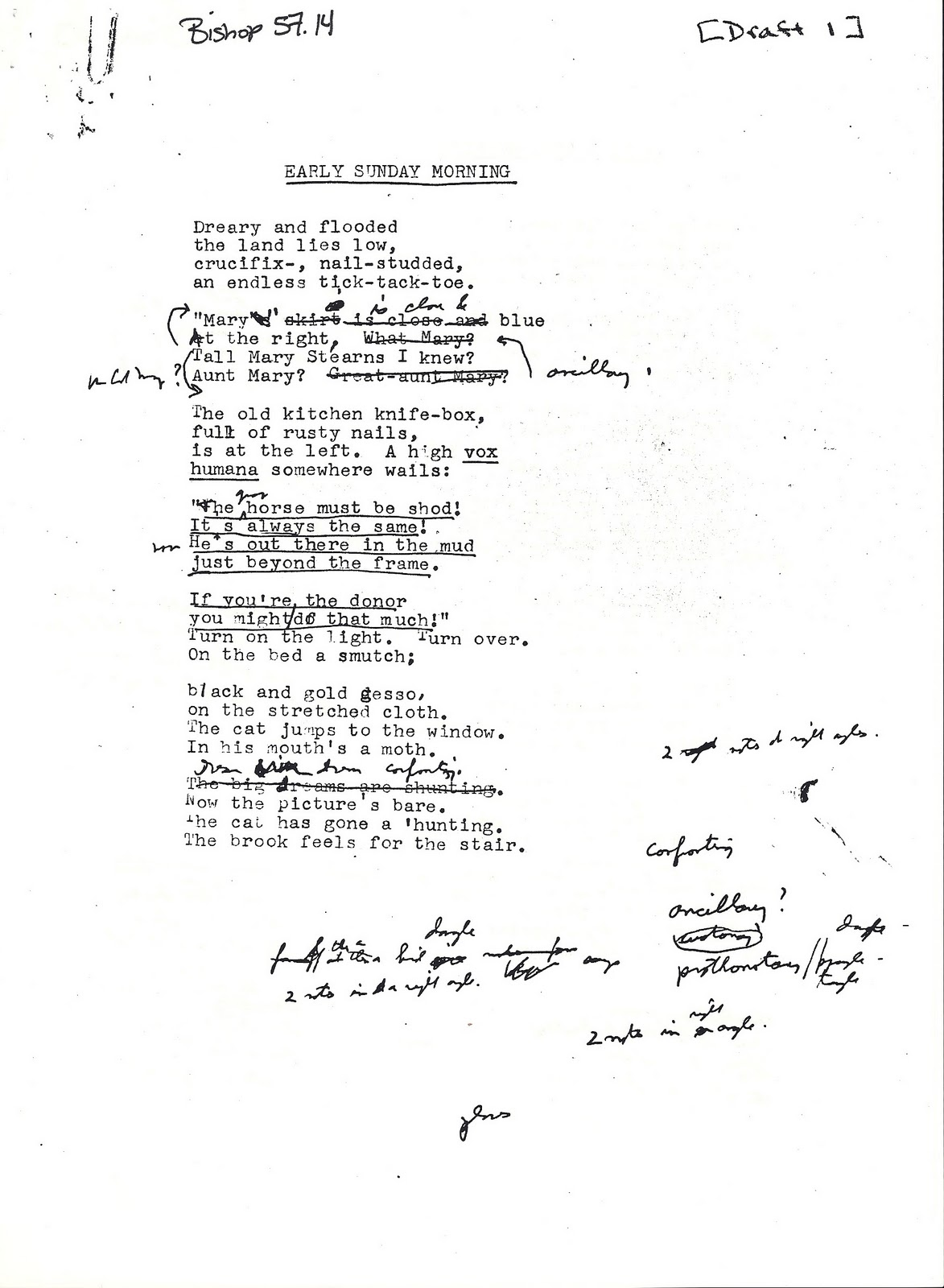 essays on poetry bluedragonfly draft one sunday 4 a m from the bishop papers in the vassar college libraries